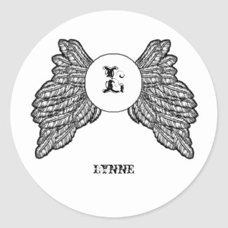 Personalized Monogrammed Angel Wings Classic Round Sticker