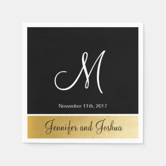 Personalized Monogrammed Custom Black Gold Wedding Paper Napkins