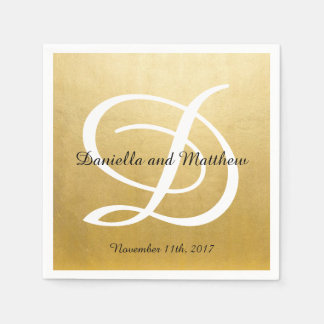 Personalized Monogrammed Custom Gold Foil Wedding Disposable Napkin