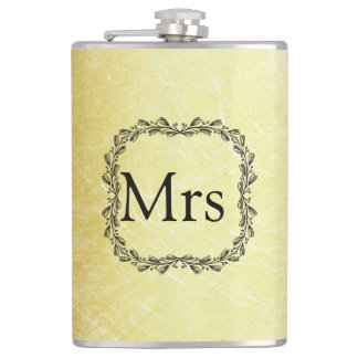 Personalized Monogrammed Gold and Black MRS Flask