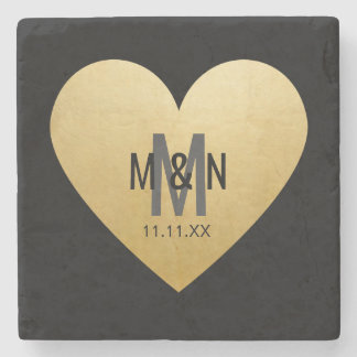 Personalized Monogrammed Gold Heart Wedding Favors Stone Coaster
