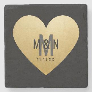 Personalized Monogrammed Gold Heart Wedding Stone Beverage Coaster