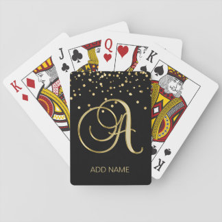Personalized Monogrammed Letter 'A' Gold Black Playing Cards