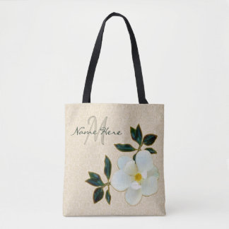 Personalized Monogrammed Tote Bags with Magnolia