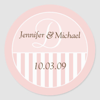 Personalized Monogrammed Wedding Favor Labels Round Stickers
