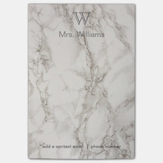 Personalized Monogrammed White Marble Post-it® Notes