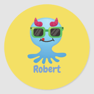 Personalized Monster Classic Round Sticker