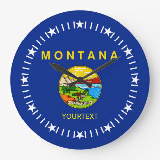 Personalized Montana State Flag Design on a Large Clock