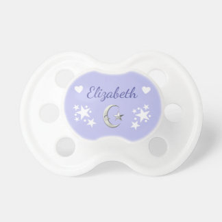 Personalized Moon & Stars Lilac Pacifier