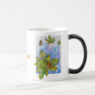 Personalized Morphing Mug  w/Butterflies &  Leaves
