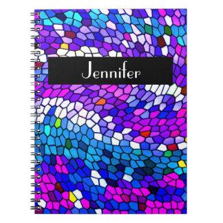 Personalized Mosaic Tile Pattern Purple Notebook