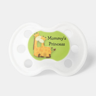 Personalized Mother and Baby Giraffe on Green Pacifier