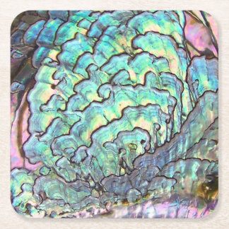 Personalized Mother of Pearl Jewel Abalone Square Paper Coaster