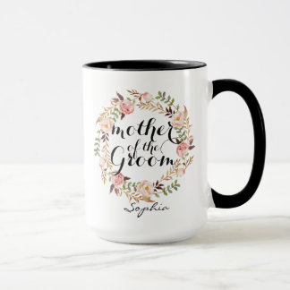 Personalized Mother of the Groom Floral Wreath Mug