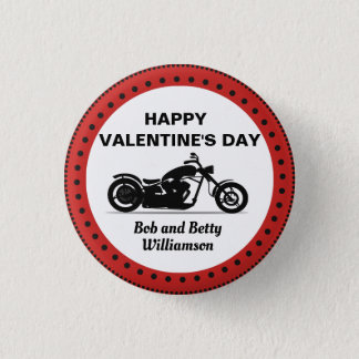 Personalized Motorcycle Happy Valentine's Day 1 Inch Round Button