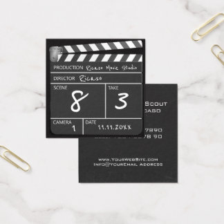 Personalized Movie Clapperboard Square Business Card
