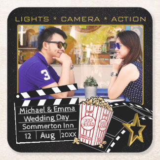 Personalized Movie Star Frame Square Paper Coaster
