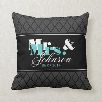 Personalized Mr and Mrs throw pillow for newlyweds