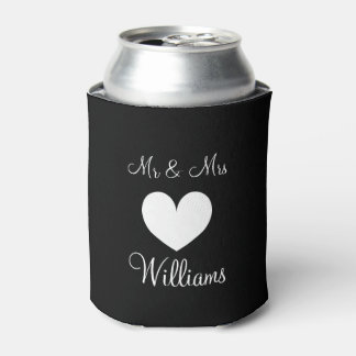 Personalized Mr and Mrs wedding can coolers