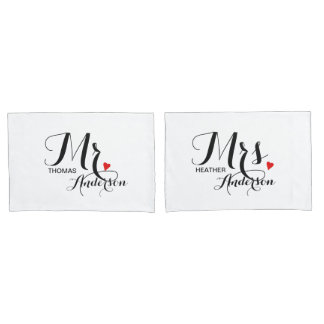 Personalized Mr and Mrs Wedding Couples Pillowcase