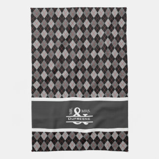 Personalized Mr & Mrs Gray/Black Argyle Golf Kitchen Towel