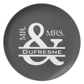 Personalized Mr & Mrs Gray Plate