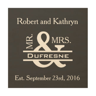Personalized Mr & Mrs Gray Wood Print