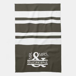 Personalized Mr & Mrs Khaki Kitchen Towel