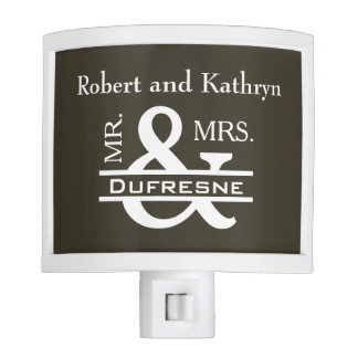 Personalized Mr & Mrs Khaki Night Light