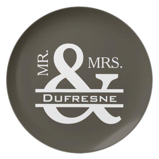 Personalized Mr & Mrs Khaki Plate