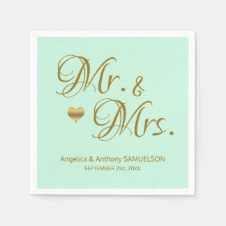 Personalized Mr. & Mrs. Mint Green Gold Wedding Paper Napkin