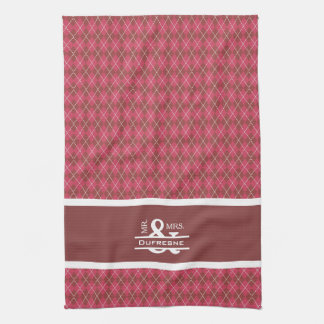 Personalized Mr & Mrs Pink Argyle Golf Kitchen Towel