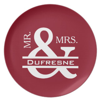 Personalized Mr & Mrs Red Plate