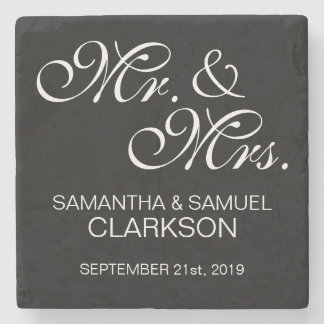 Personalized MR. & MRS. White Black Wedding Favors Stone Coaster