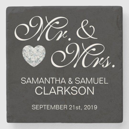 Personalized MR. & MRS. White Black Wedding Stone Coaster