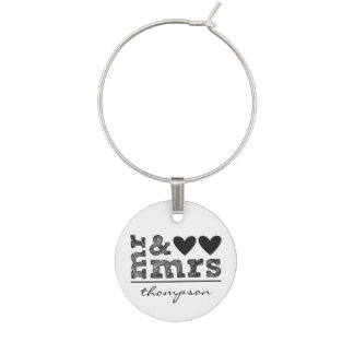 Personalized Mr & Mrs Wine Charm