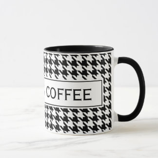 Personalized mug with cute houndstooth pattern