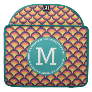 Personalized Multi-Color Waves Geometric Monogram Sleeves For MacBooks