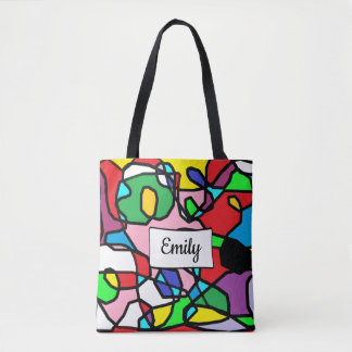 Personalized Multi Colored Abstract Tote Bag