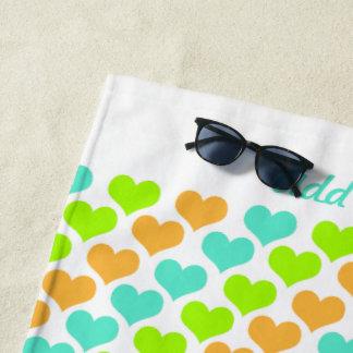 Personalized Multi-Colored Hearts Beach Towel