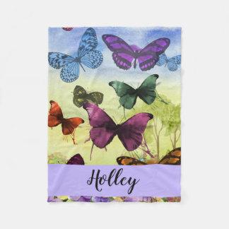 Personalized Multicolor Butterfly Watercolor Fleece Blanket
