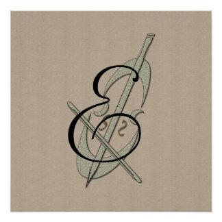 Personalized Music Cello Fan Monogram Poster