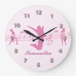 Personalized Music Dance and Drama Pink Large Clock