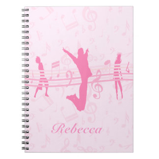 Personalized Music Dance and Drama Pink Spiral Notebooks