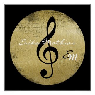 personalized music note, black treble clef poster