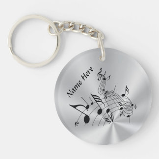 Personalized Music Note Gifts with Your NAME Double-Sided Round Acrylic Keychain