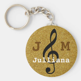 personalized music treble clef golden keychain