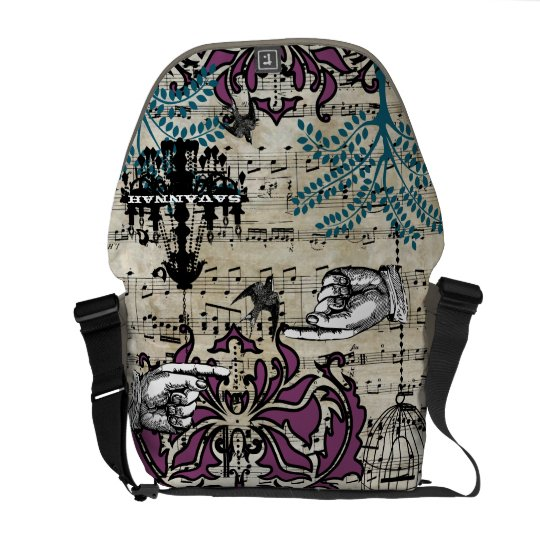 Personalized Musical Chandelier Tree Bird Damask Messenger Bag