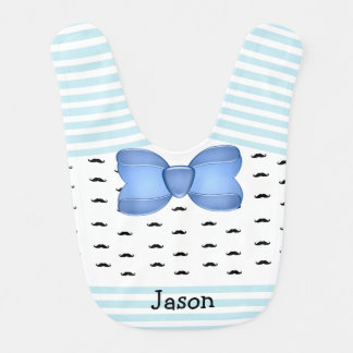 Personalized Mustache and Bow tie Baby Boy Bib