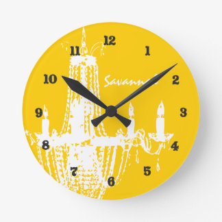 Personalized Mustard Yellow Chandelier Wall Clock